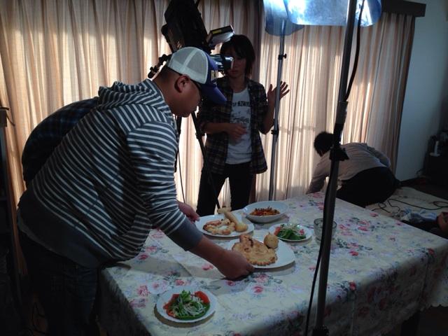 ダイアンが、食べた味噌そぼろのフィットチーネ。撮影中。撮影中