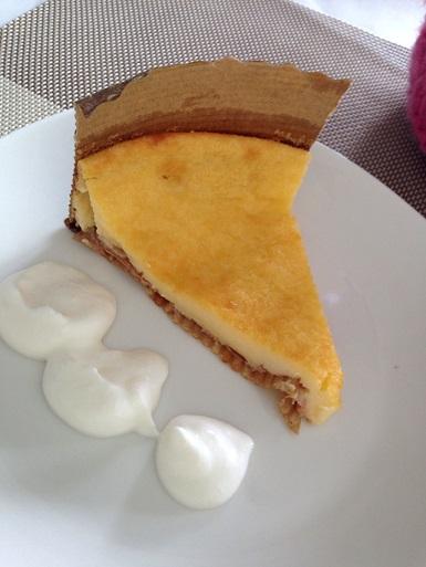 手打ちパスタ講習会のデザート。低カロリーのチーズケーキ