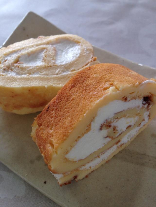 手打ちパスタ講習会のデザート。低カロリーのチーズケーキ。クリームサンド。