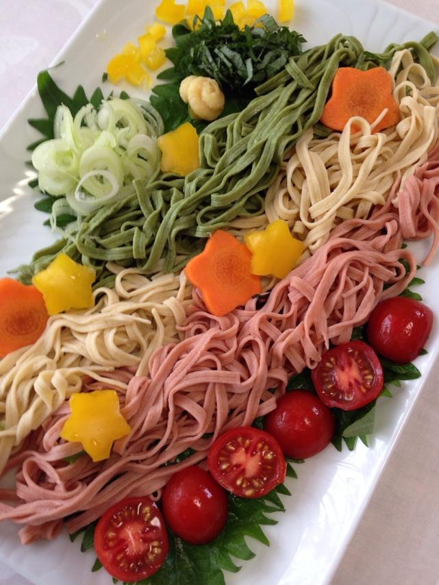 七夕なので京都江部粉麺ミックスで三色素麺を作りました