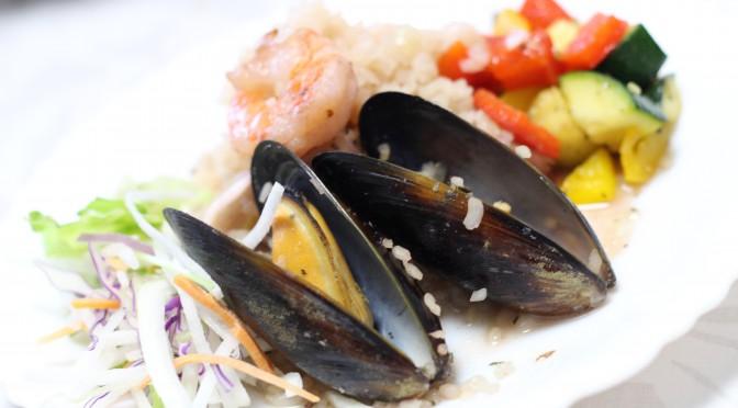 本日は、イタリアン気分!酒種で、トルタノ。蒟蒻ふっくライスで、魚介のリゾット。