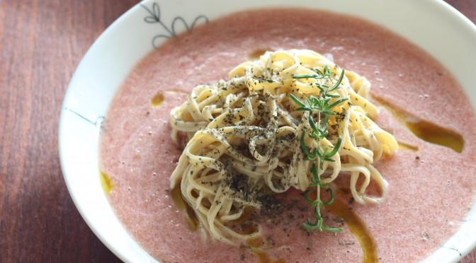 今日のランチは、江部粉麺ミックスで『ガスパチョパスタ』