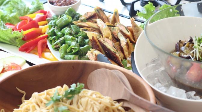 京都江部粉麺ミックスを使って『水ナスの花山椒風味の冷製パスタ&もっちり春巻き』3回目開催