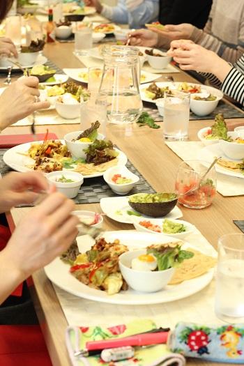 a-ta-sante糖質制限パン料理教室、阿倍野区西田辺。京都江部粉トルティーヤ。低糖質のお料理でおもてなしinクリナップ大阪。メキシコ料理。