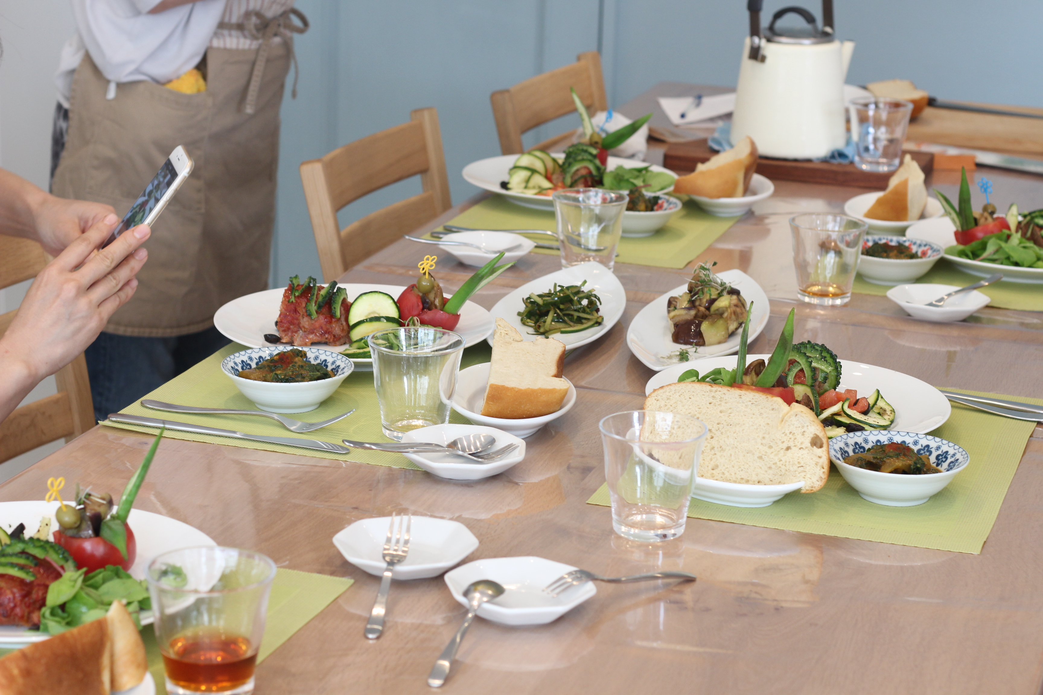 a-ta-sante糖質制限パン料理教室。大阪市阿倍野区。おしゃれで楽しい低糖質料理教室8月2日目。テーマは、『夏野菜』
