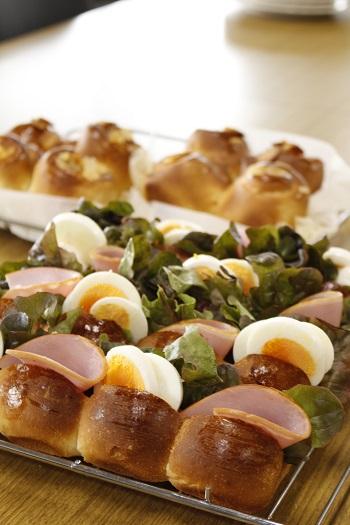 a-ta-sante糖質制限パン料理教室。西田辺。会館でのレッスン『ハニーブレッド&ちぎりパンサンドイッチ』